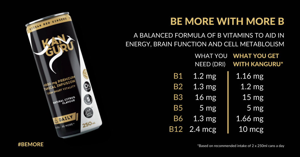Be More with More B - Kanguru provides beneficial amounts of what your body needs to Be More