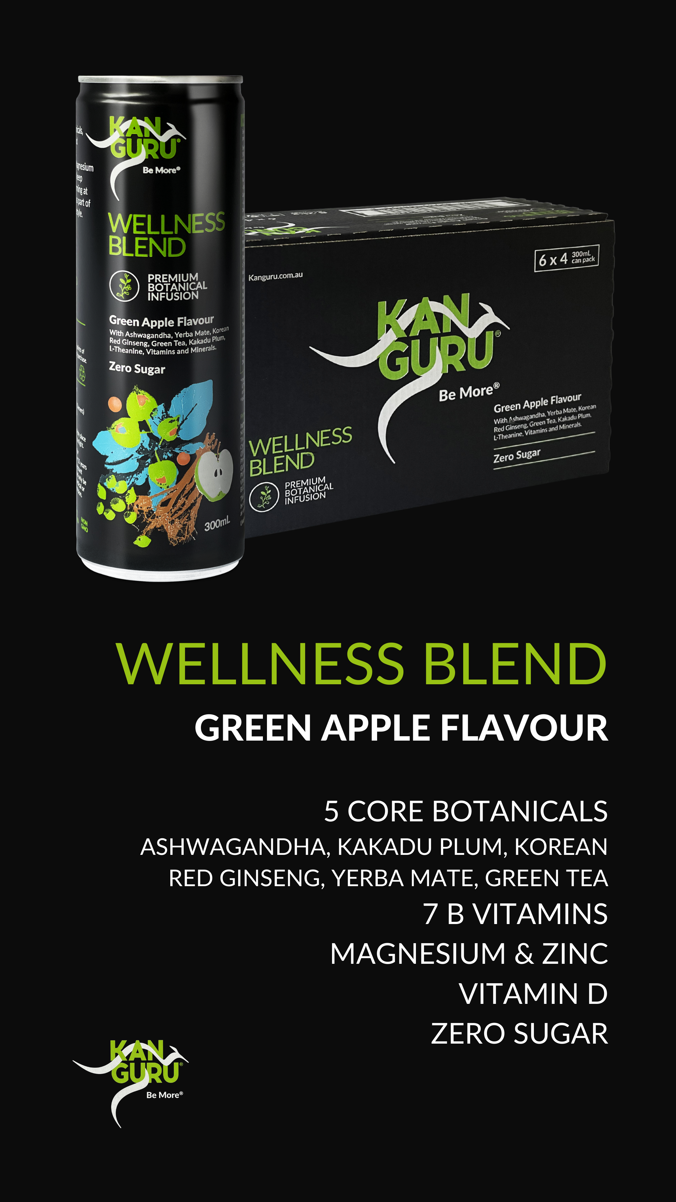 Kanguru's Wellness Blend in Green Apple flavour is an antioxidant-rich drink with the amazing benefits you have come to expect from Kanguru.